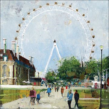 "BLANK CARD ""LONDON EYE"" LARGE SQUARE SIZE 6.25"" x 6.25"" 9039 EVEH"